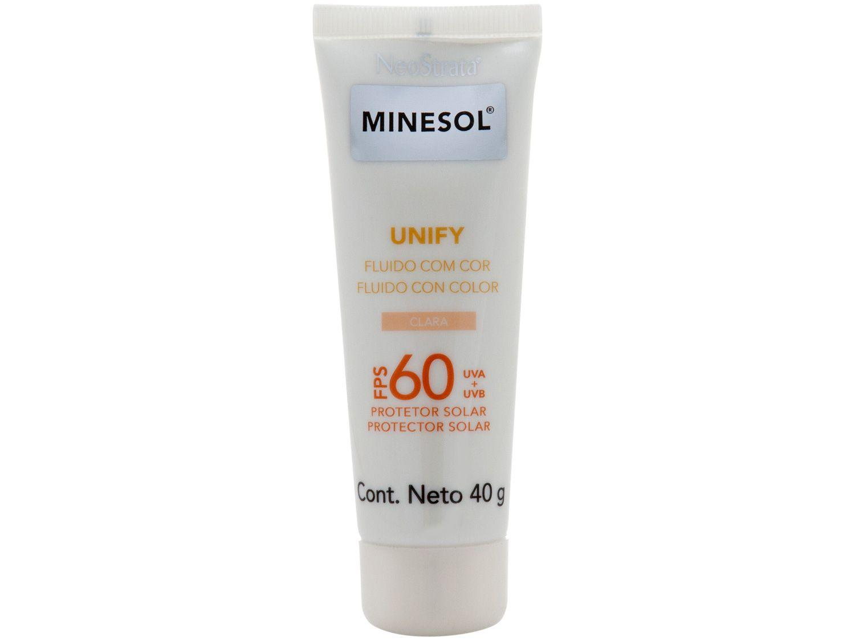 Protetor Solar Facial Minesol FPS 60 Claro Unify - Fluido com Cor 40g