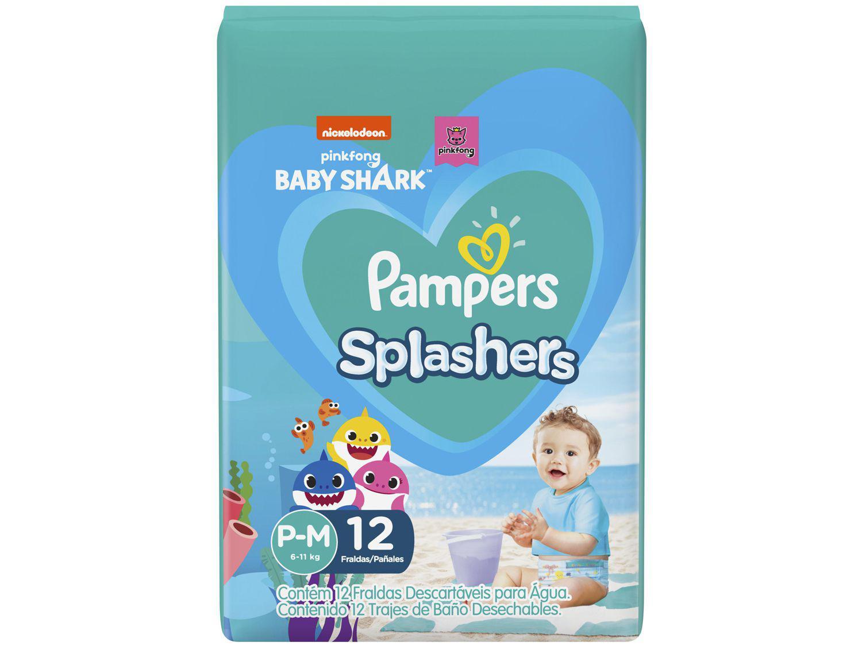 Fralda para Piscina Descartável Pampers Splashers - Baby Shark Tam. P-M 6 a 11kg 12 Unidades