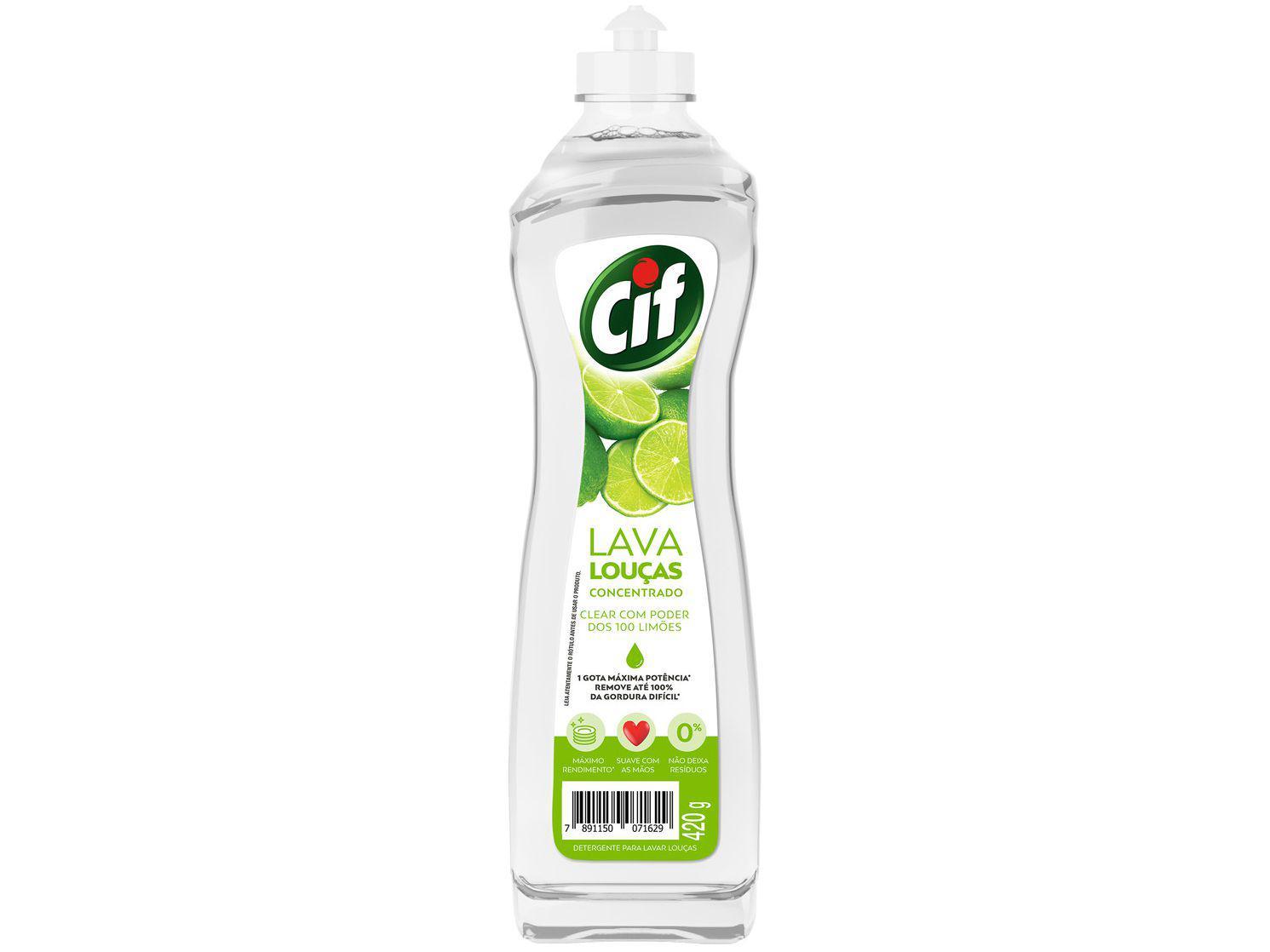 Detergente Líquido Concentrado Lava-Louças Cif - Limão Clear com Poder dos 100 Limões 420g