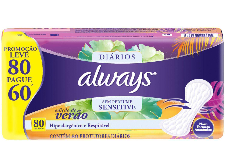 Protetor Diário Always Sensitive Edição de Verão - 80 Unidades