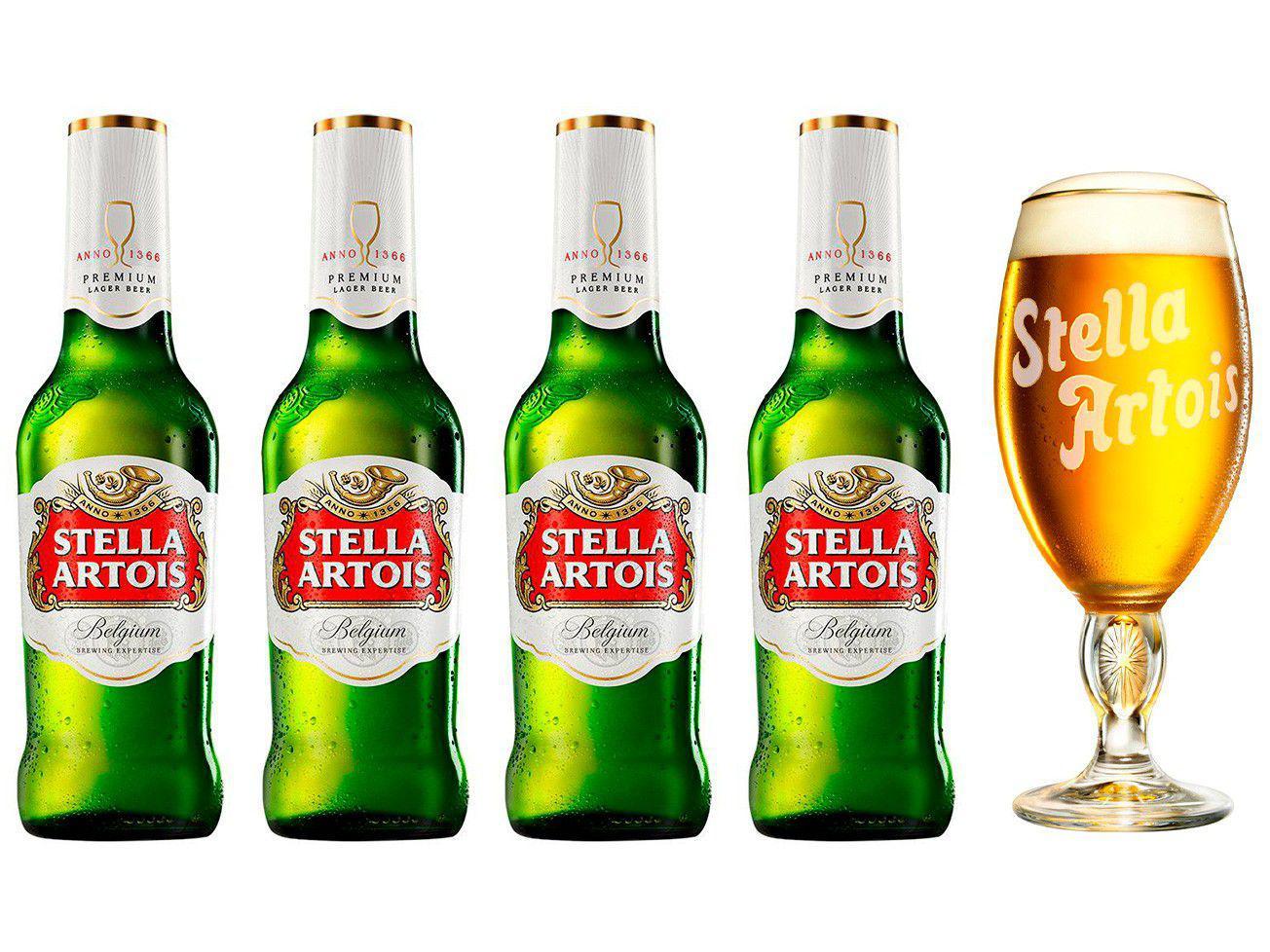 Kit Cerveja Stella Artois Cálice Vintage Premium - 4 Unidades de 275ml com 1 Cálice