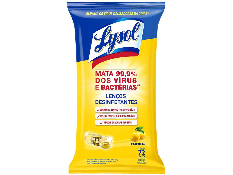 Lenços Desinfetantes e Umedecidos Lysol Wipes - Poder Cítrico 72 Unidades