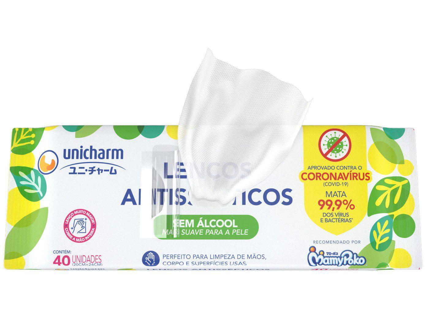 Lenço Umedecido Antisséptico Unicharm - Sem Álcool 40 Unidades