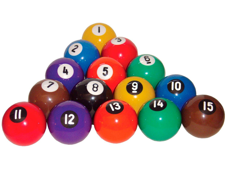 Jogo de Bola de Sinuca Bilhar Snooker Numerada - 54mm Procópio 051 16 Unidades