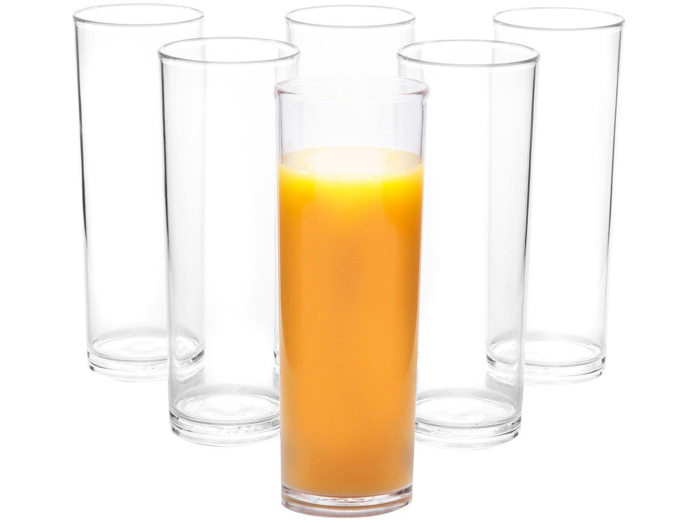 Jogo de Copos Transparente 300ml 6 Peças - VemPlast Salut Slim Long Drink