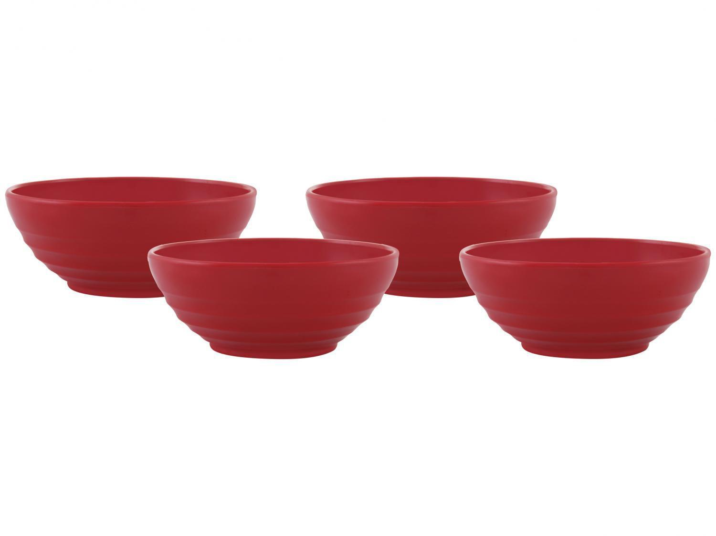 Conjunto de Bowls de Polipropileno Vermelho - Vemplast 500ml Tropical Oriental 4 Peças