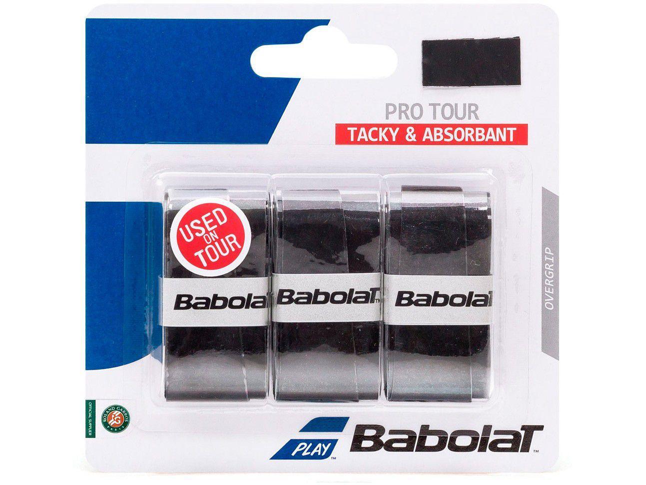 Overgrip Babolat Pro Tour Preto 3 Unidades