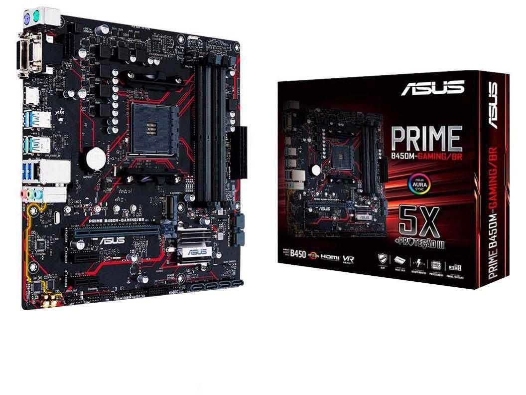 Placa Mãe Asus Prime B450M-Gaming/BR AMD - AM4 DDR4 Micro ATX