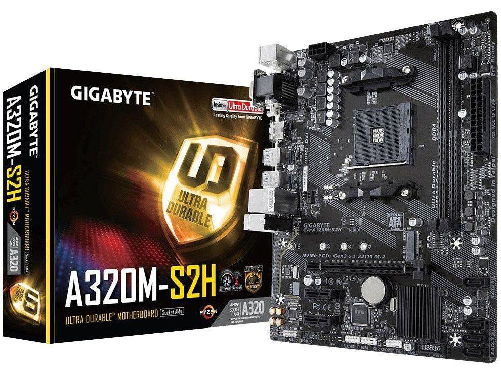 Placa Mãe Gigabyte GA-A320M-S2H AMD AM4 - DDR4 Micro ATX