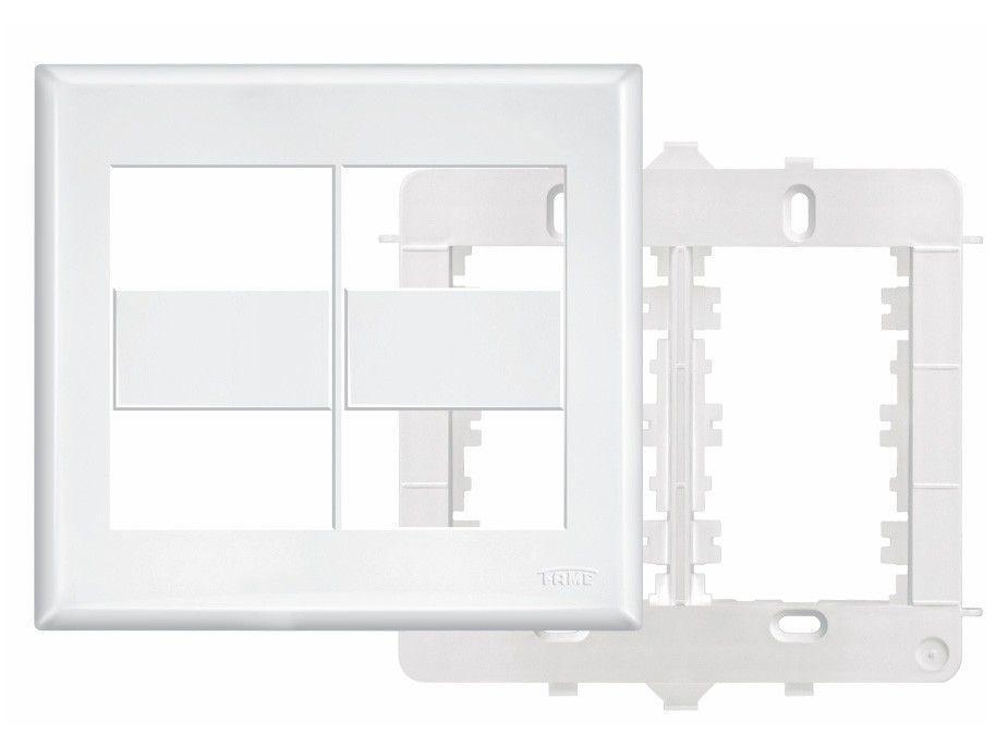 Placa 4x4 Com Suporte Para 4 Modulos Evidence - Fame Branca