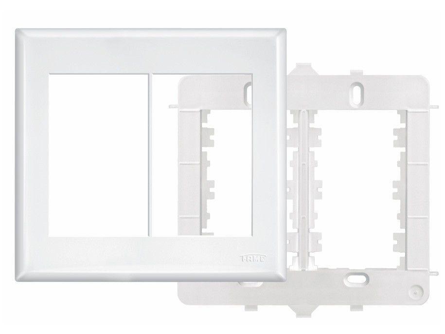 Placa 4x4 com Suporte Fame 6 Módulos Horizontais - Branca