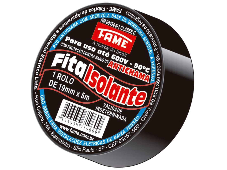 Fita Isolante Fame 19mm x 5m x 0,13mm - Preta