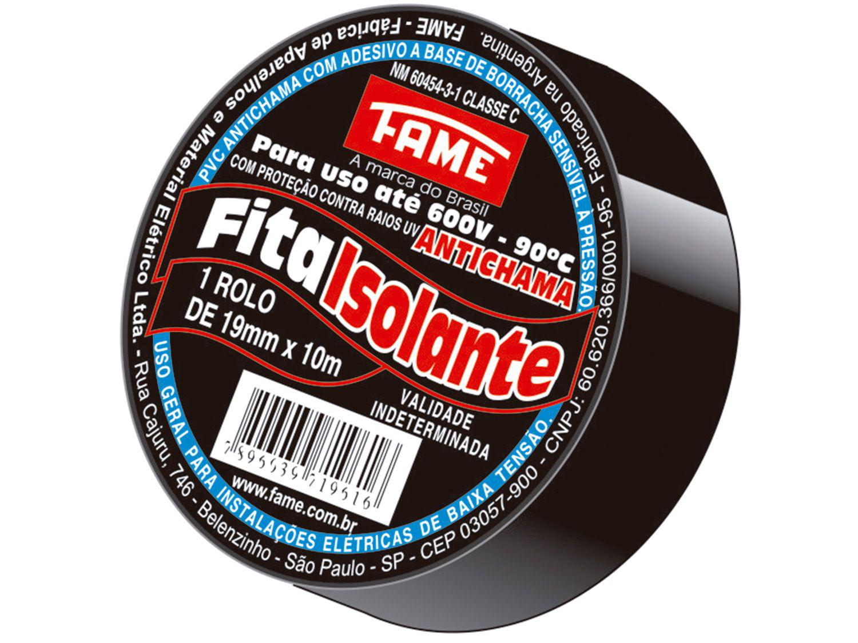 Fita Isolante Fame 19mm x 10m x 0,13mm - Preta