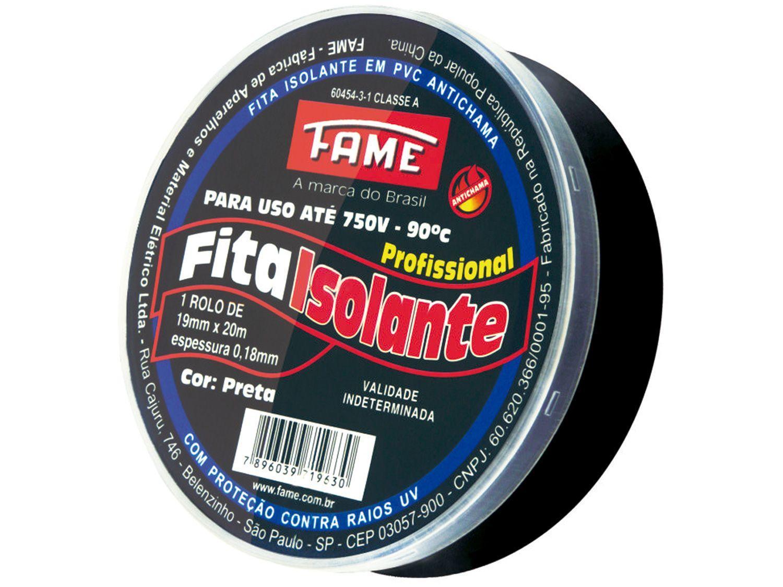 Fita Isolante Fame 19mm x 20m x 0,18mm - Preta