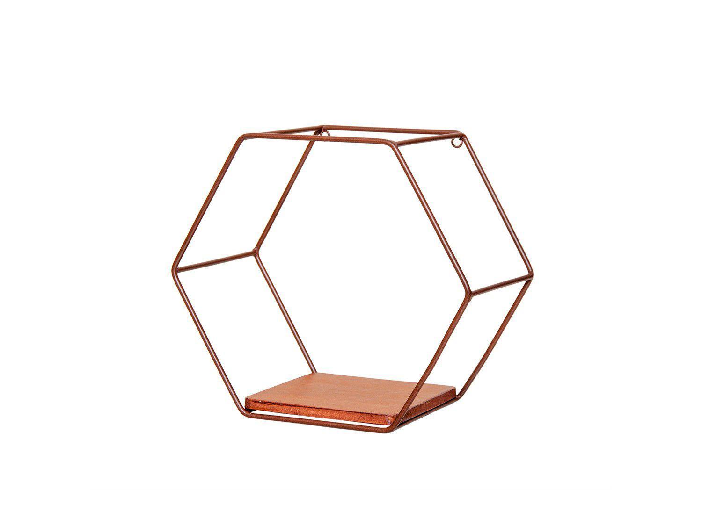 Nicho Marrom Hexagonal 28x25cm 1 Prateleira - Shangai 23-543