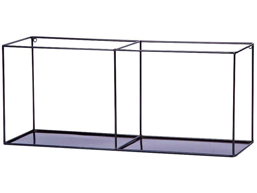 Nicho Duplo Preto Retangular 70x30cm - 1 Prateleira Shangai 23-895