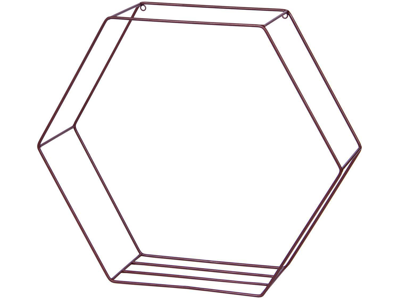 Nicho Marrom Hexagonal 50x47cm 1 Prateleira - Shangai 23-898