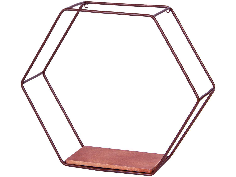 Nicho Marrom Hexagonal 45x39cm 1 Prateleira - Shangai 23-899