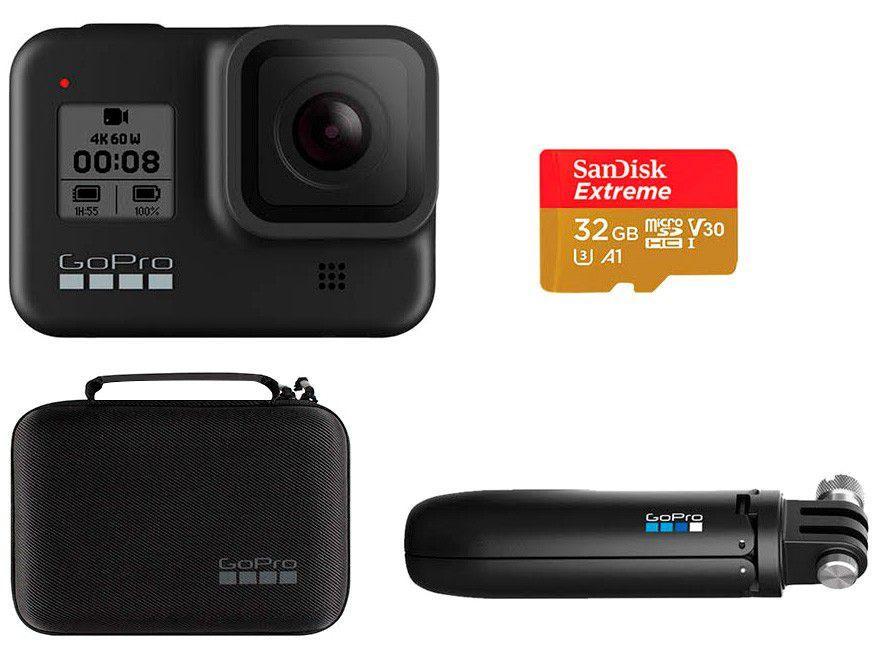 Kit GoPro HERO8 Black Essencial - com Shorty, Cartão 32GB e Estojo