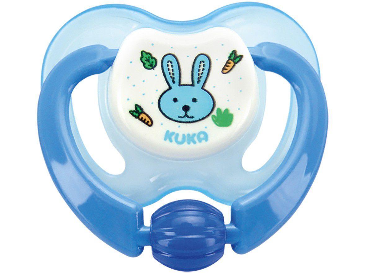 Chupeta Silicone Ortodôntico Kuka Lovely - Coelho Azul Acima de 6 meses
