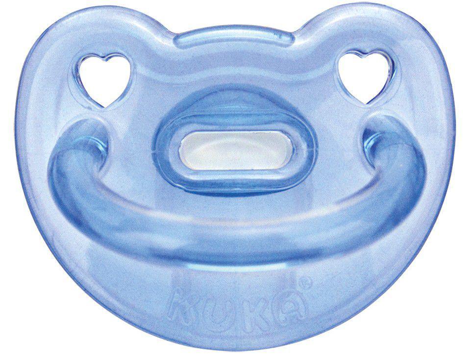 Chupeta Silicone Ortodôntico Kuka - Soft Azul Acima de 6 Meses