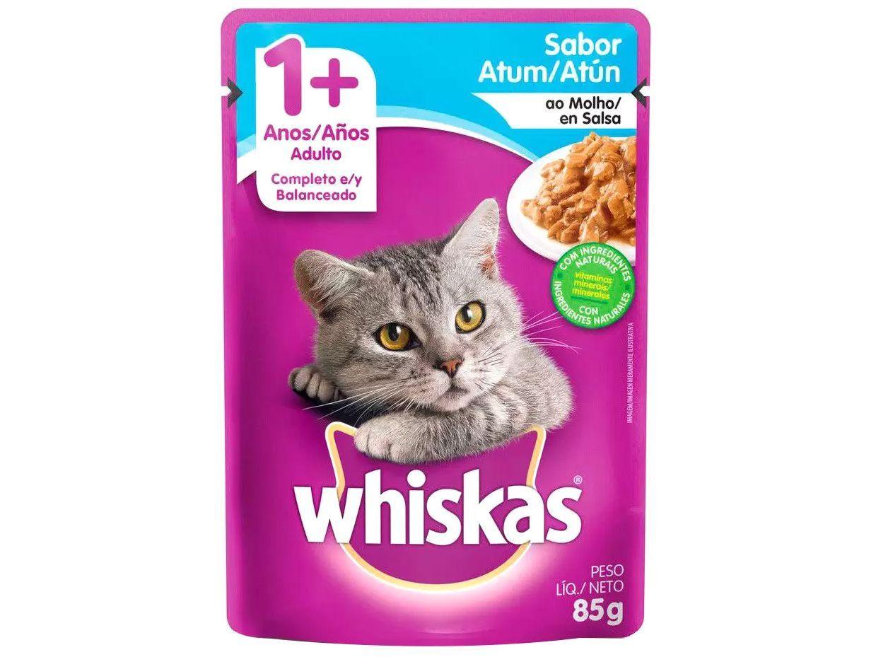 Ração Úmida para Gato Adulto Sachê - Whiskas Atum ao Molho 85g