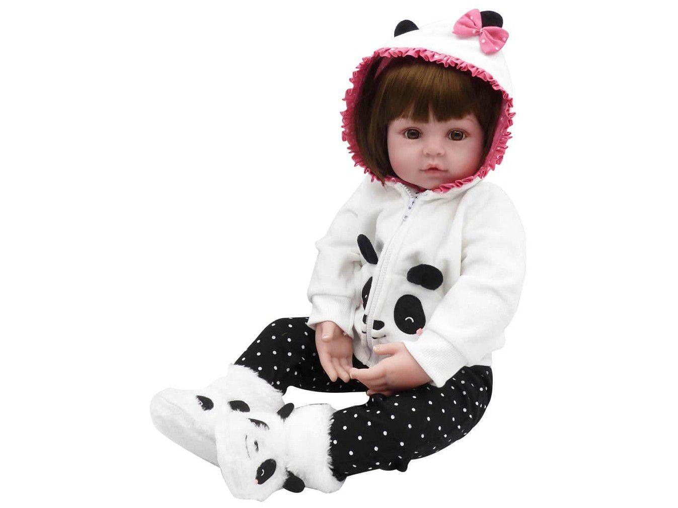 Bebê Reborn Pandinha Laura Baby 45cm - com Acessórios