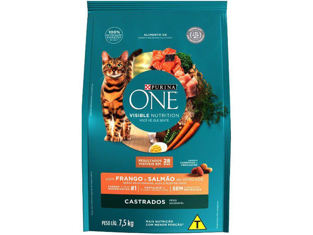 Ração Super Premium para Gato Castrado Purina One - Adulto Frango e Salmão 7,5kg