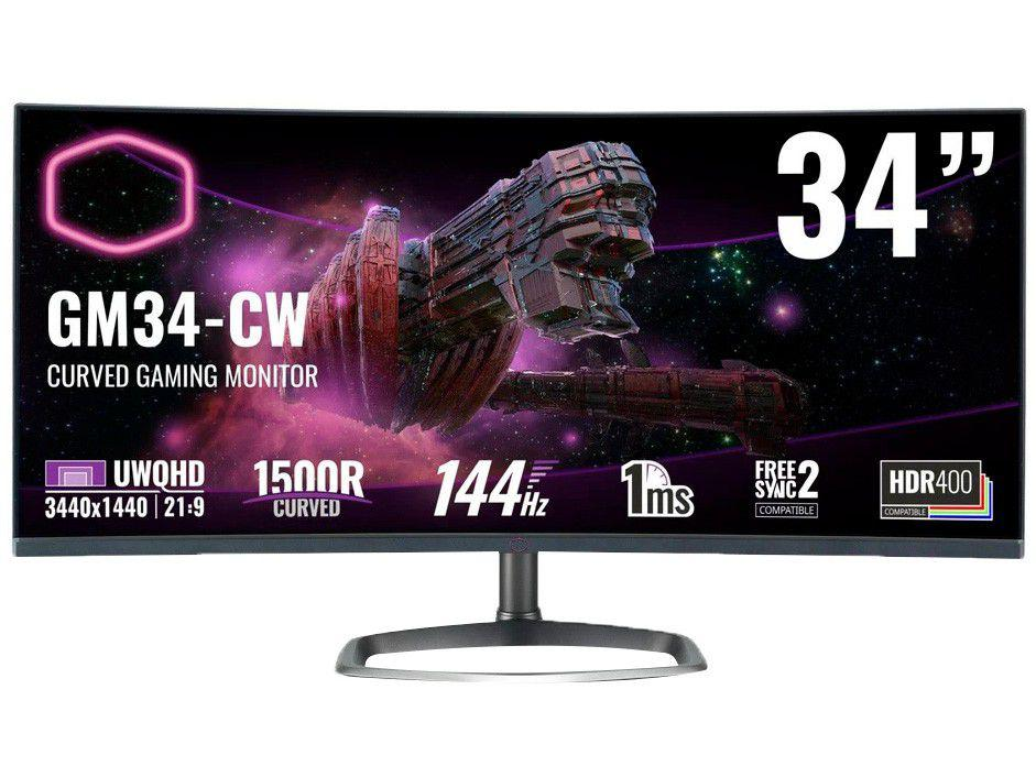 """Monitor Gamer Cooler Master GM34-CW 34"""" LCD Curvo - Ultrawide Quad HD HDMI 144Hz 1ms FreeSync"""