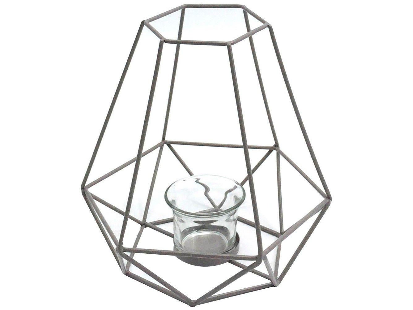 Lanterna Decorativa Vidro 19,5x18,5cm Inova - Metal Mandy