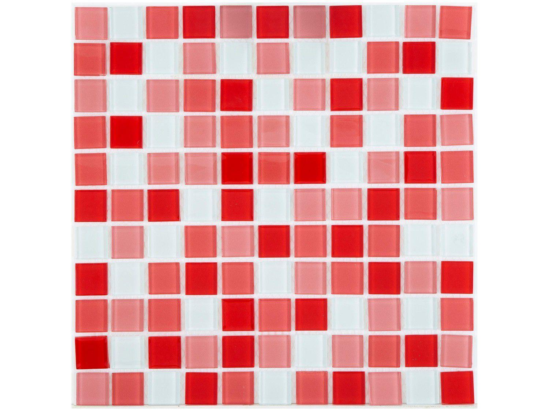 Pastilha de Vidro Mia Mosaic Mix 30x30cm - Vermelha