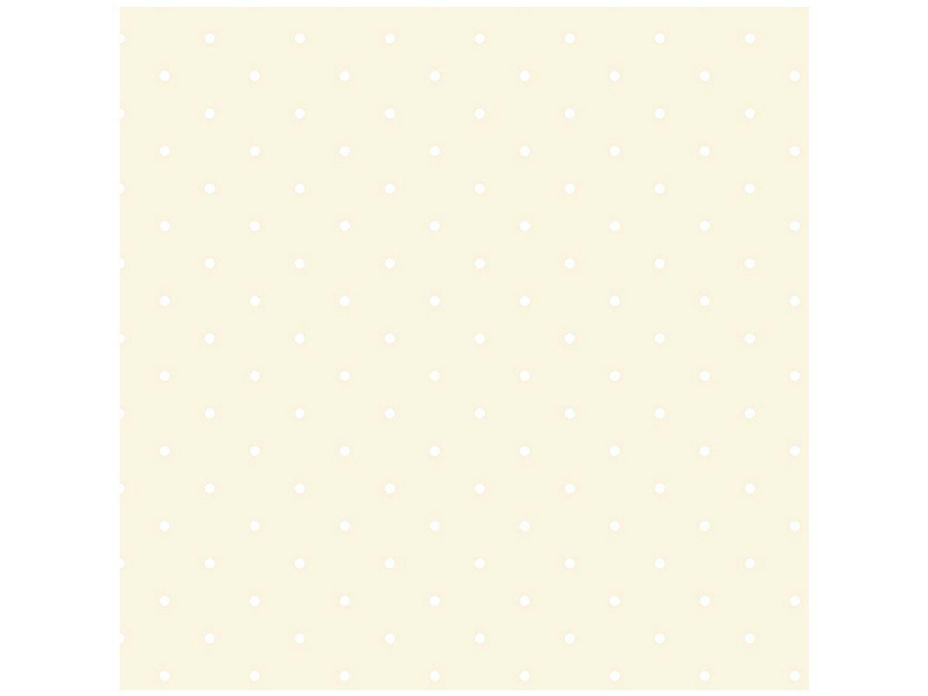 Papel de Parede Infantil Creme Bolinhas Vinílico - Evolux 53x1000cm