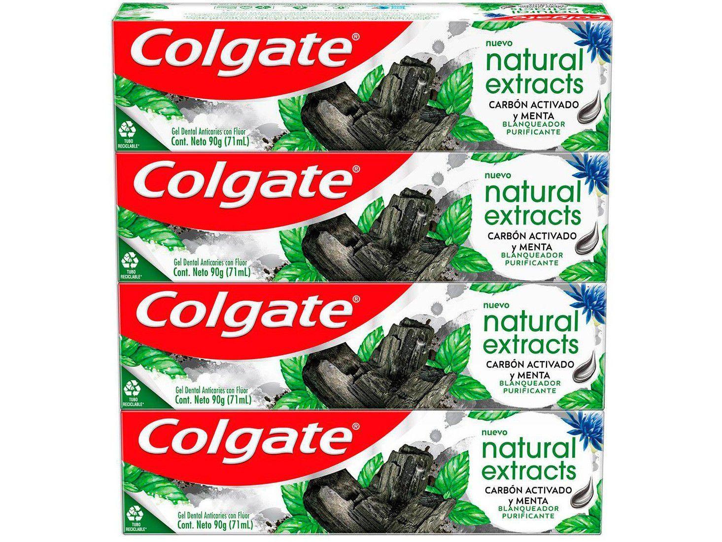 Creme Dental Clareador Colgate Natural Extracts - Carvão Ativado e Menta 90g 4 Unidades