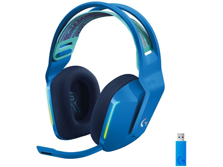 Headset Gamer Logitech G733 PC MAC PS4 sem Fio - 7.1 USB Azul