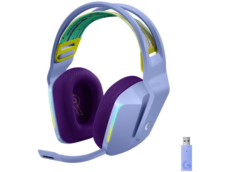 Headset Gamer Logitech G733 PC MAC PS4 sem Fio 7.1 - USB Lilás