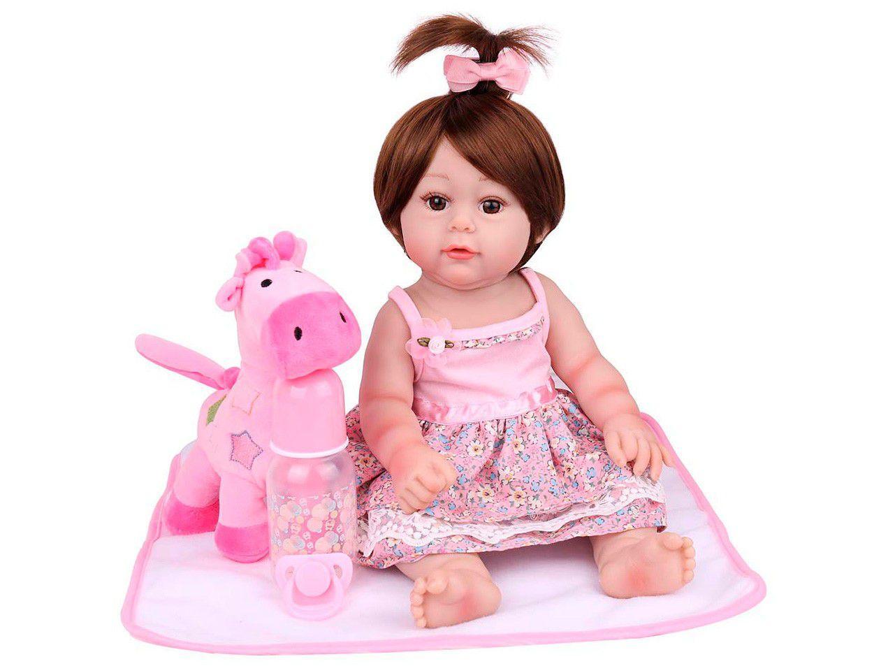 Boneca Reborn Luiza Girafinha 45cm com Acessórios - Laura Baby