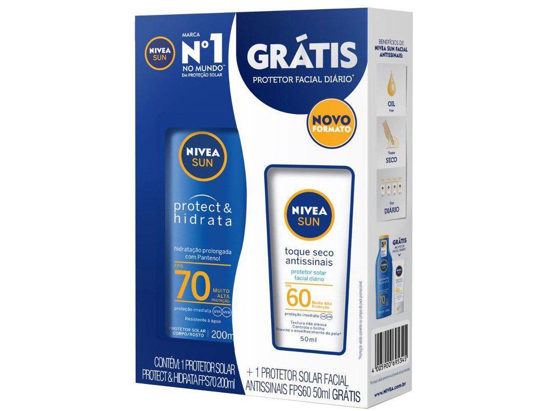 Protetor Solar Corporal Nivea FPS 70 Sun Protect & - Hidrata 200ml c/ Protetor Solar Facial FPS 60 50ml