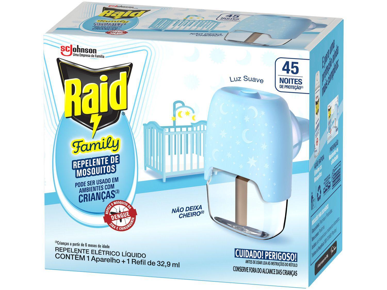 Repelente Elétrico Líquido Raid Family com Refil - 32,9ml 45 Noites