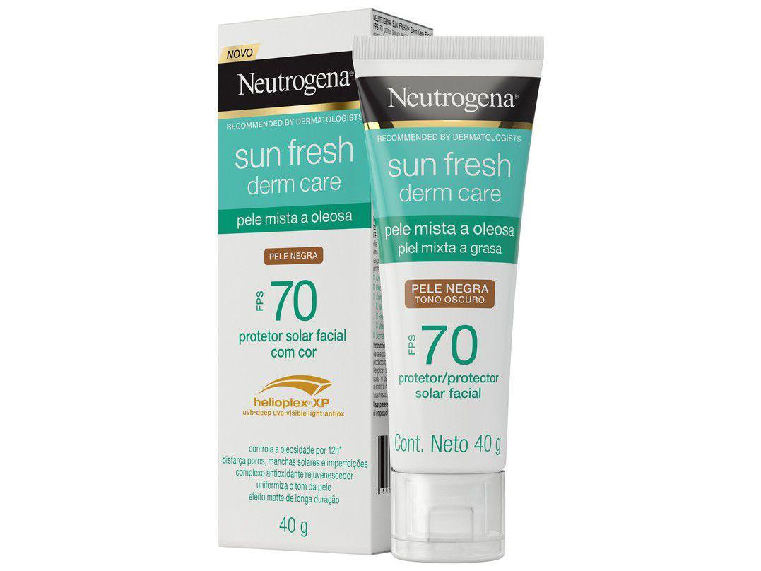 Protetor Solar Facial Neutrogena FPS 70 com Cor - Derm Care Sun Fresh Pele Negra 40g