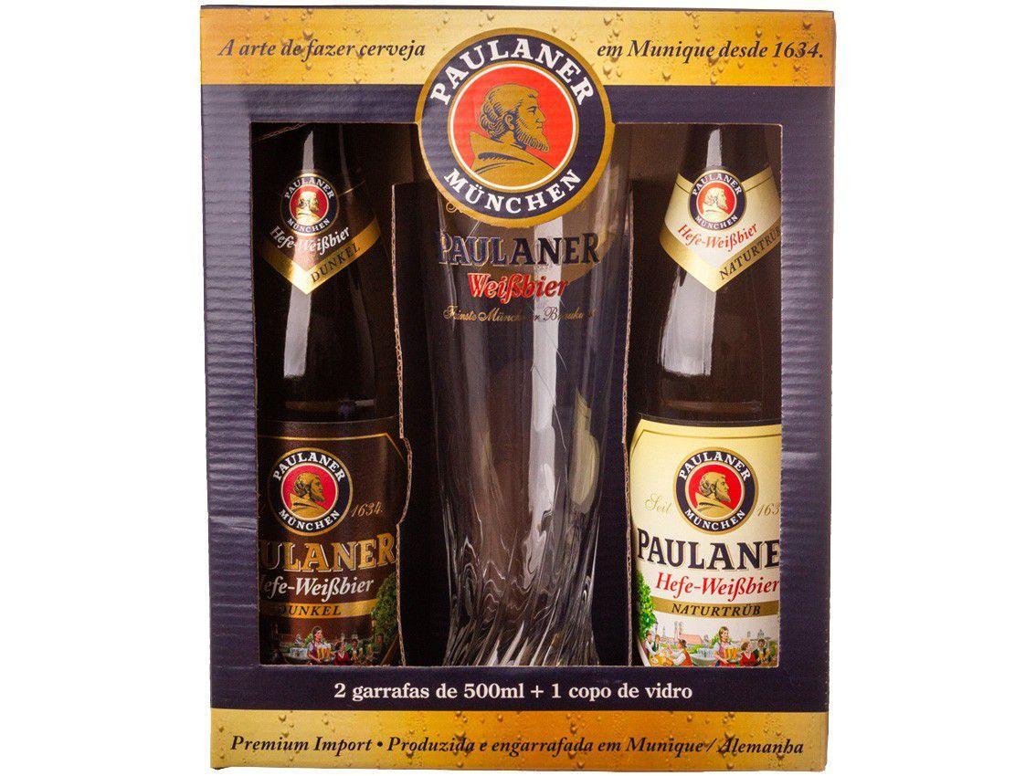 Cerveja Paulaner Weissbier e Dunkel Ale 2 Unidades - 500ml com 1 Copo