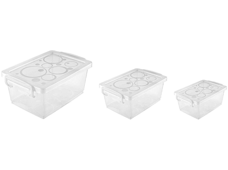 Jogo de Caixas Organizadoras de Plástico com Tampa - 3 Peças Ordene Bel Fit