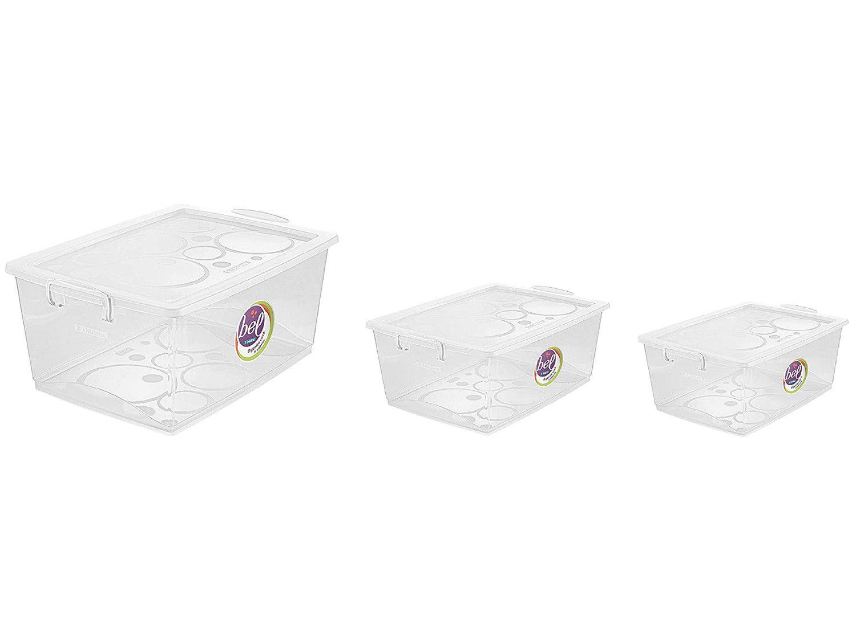 Jogo de Caixas Organizadoras de Plástico com Tampa - 3 Peças Ordene Bel Max