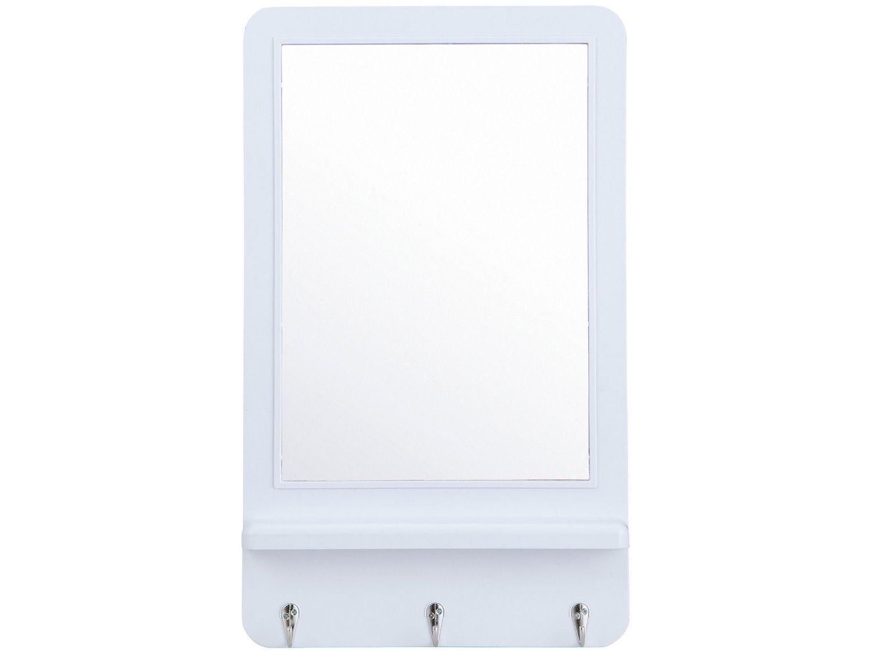 Espelho Decorativo Retangular de Parede com - Moldura e Porta Chaves Branco 31x51cm Inova Hook