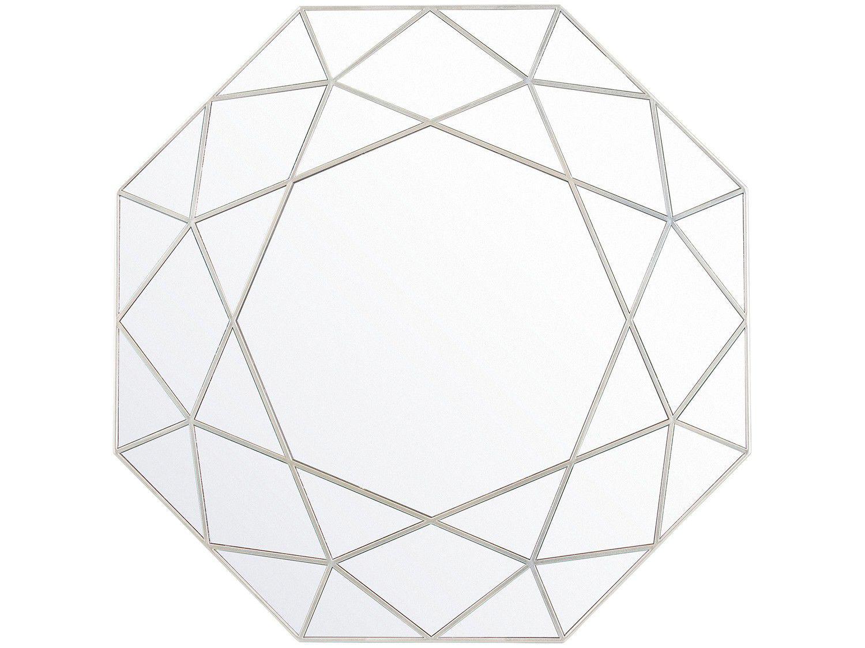 Espelho Decorativo Octogonal com Moldura de Parede - Prata Golden 55x55cm Inova Urban