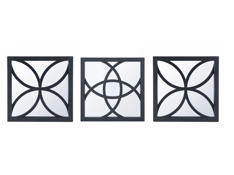 Espelho Decorativo Quadrado com Moldura de Parede - Preto 26x26cm 3 Unidades Inova Átomo