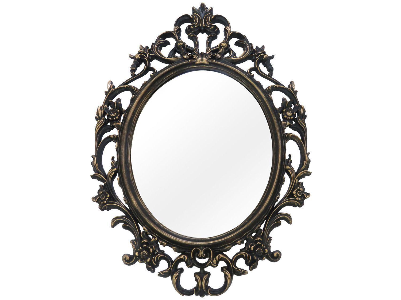 Espelho Decorativo Oval Veneziano com Moldura - de Parede Ouro Velho 57x82cm Inova Versa