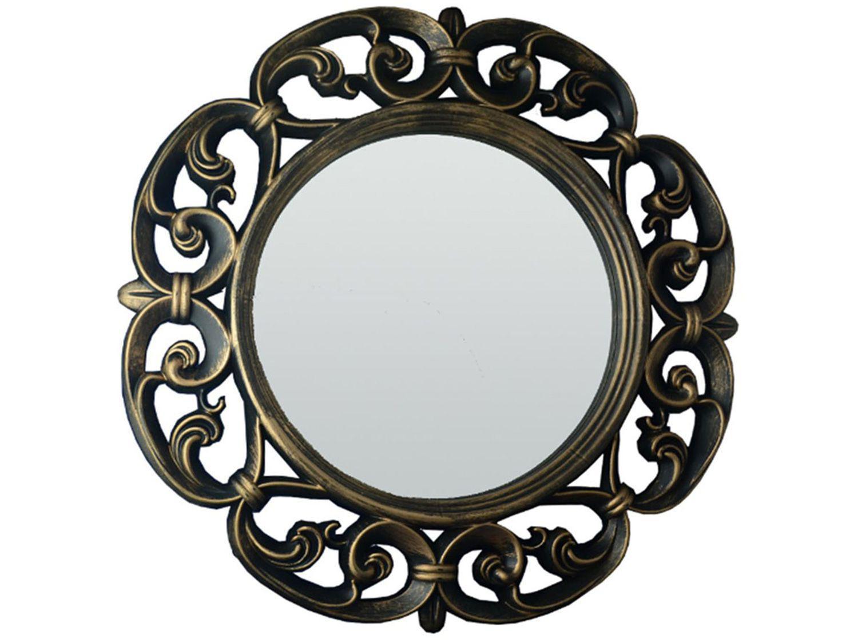 Espelho Decorativo Redondo com Moldura de Parede - Ouro Velho 60x60cm Inova Vênus