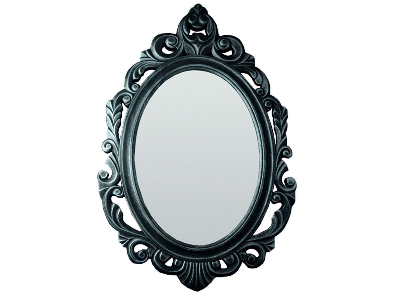 Espelho Decorativo Oval Veneziano com Moldura - de Parede Prata Envelhecida 50x77cm Inova Baroque