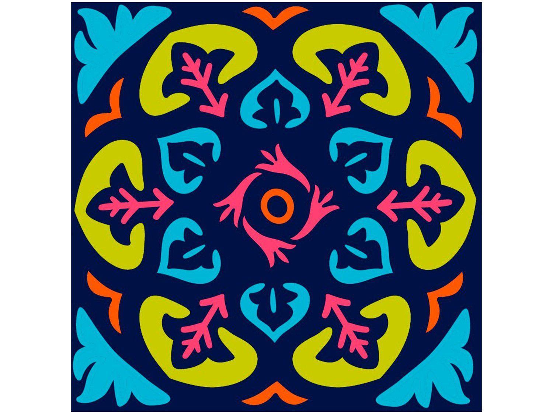 Adesivo de Azulejo Abstrato PVC Adesif N1905777 - 15x15cm 8 Unidades