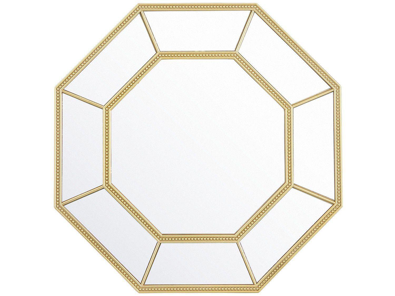 Espelho Decorativo Octogonal com Moldura de Parede - Dourado 40x40cm Inova Huit